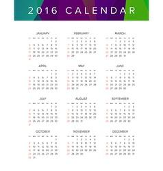 2016 Calendar Abstract Week Starts from Sunday vector