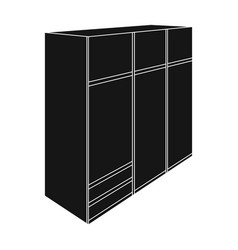a large bedroom wardrobe with mirrow and lots of vector image