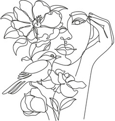 Abstract woman face with bird and flowers one vector