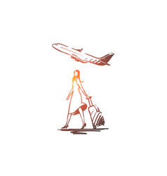 airplane woman tourist suitcase vector image