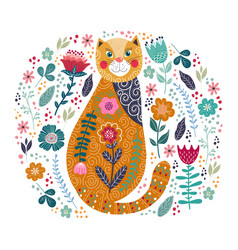 art colorful with cute cat and vector image