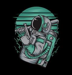Astronaut handling gun hand drawingshirt designs vector