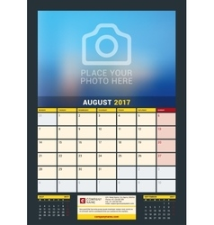 August 2017 Wall Calendar for 2017 Year vector