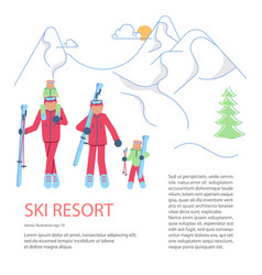 banner template for mountain ski resort vector image