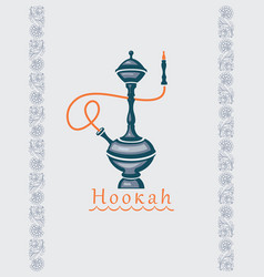 banner with a hookah and floral ornament vector image