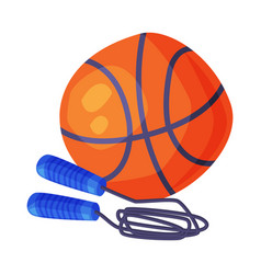 basketball ball and skipping rope sports equipment vector image