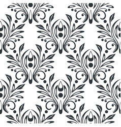 black filigree floral black white seamless pattern vector image