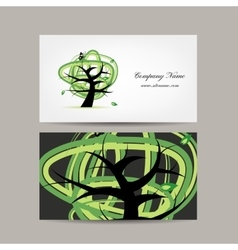Business card design green tree vector
