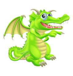 Cartoon dragon mascot pointing vector