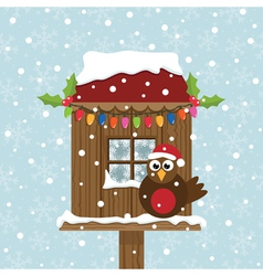 Christmas birdhouse vector