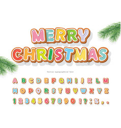 Christmas gingerbread cookie font bisquit vector