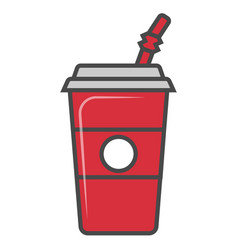 Cola plastic glass with straw isolated icon vector