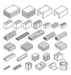 construction materials set vector image