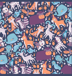 cute animals in seamless pattern vector image