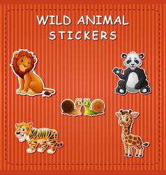 cute cartoon wild animals on sticker vector image