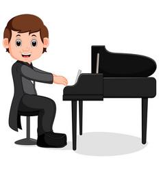 Cute little boy cartoon playing piano vector