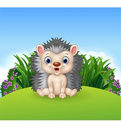 Cute little hedgehogsitting on the jungle vector image