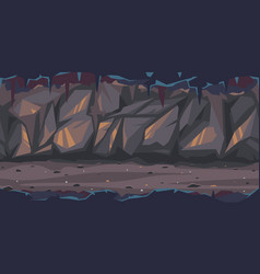 Dark terrible cave game background vector