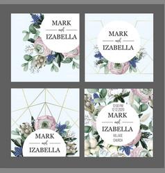Delicate wedding invitation with ranunculus vector