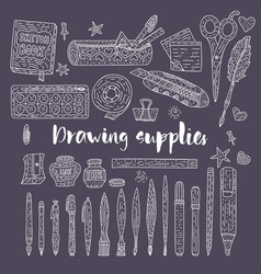drawing accessories outline set vector image