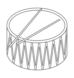 Drum icon in outline style isolated on white vector