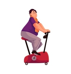 Fat man doing cycling workout cartoon vector