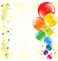 festive balloons and light-burst vector image
