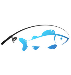 Fish and fishing rod silhouette for fishing vector