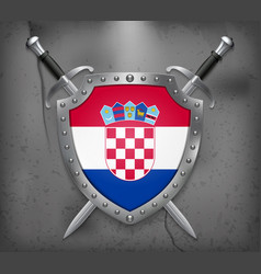 Flag of croatia the shield with national flag vector