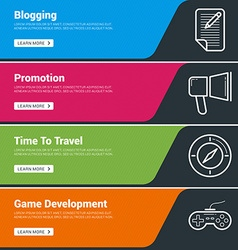 Flat Design Concept Set of Web Banners Blogging vector image