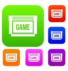 Game cartridge set collection vector
