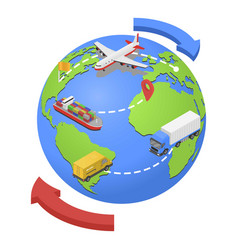 global airwater road shipping icon isometric vector image