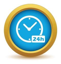 Gold clock icon vector image