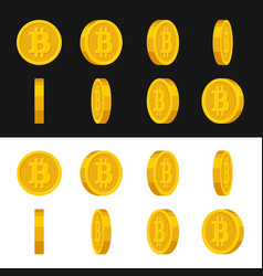 Gold rotate bitcoin frames set for animation on vector