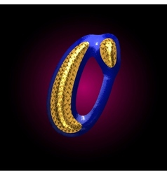 golden and blue letter 0 vector image