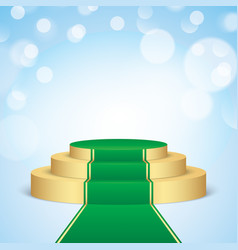 Golden pedestal with green carpet vector