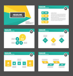 Green yellow presentation templates Infographic el vector