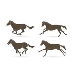 Group horses running cartoon graphic vector
