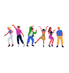 group of young dancing people isolated on white vector image