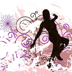 Grunge Background with dancing girl on Posters vector image