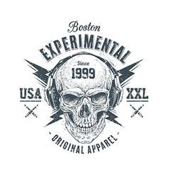 Grunge skull print vector