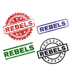 Grunge textured rebels seal stamps vector