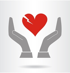 Hands and fragile heart symbol vector