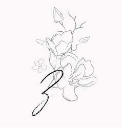 Handwritten line drawing floral logo monogram z vector