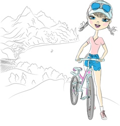 hipster girl tourist with bicycle vector image