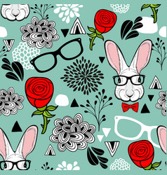 Hipster rabbits in glasses endless background vector