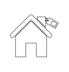 home silhouette with tag black dashed vector image