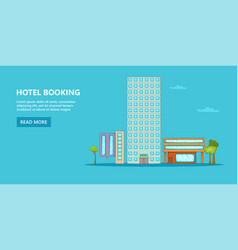 Hotel horizontal banner sky cartoon style vector