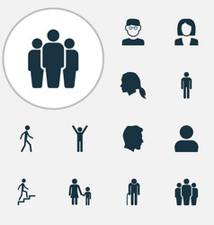 human icons set collection of ladder grandpa vector image