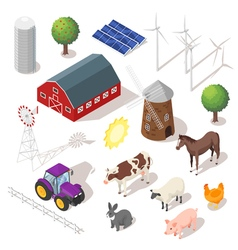 Isometric 3d farm set Farm animals vector image